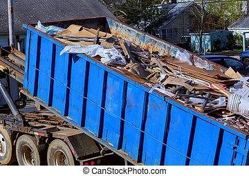 リサイクル, ごみ収集人, トラックのローディング, 無駄, そして, 取り外し可能, container.