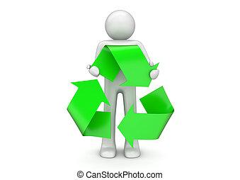 リサイクル, コレクション, -, 人, 手掛かり, インターナショナル, 包装, 印