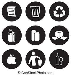 リサイクル, セット, アイコン