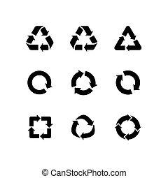 リサイクル, セット, アイコン, 隔離された, ベクトル, 矢, サイン, 白