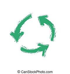 リサイクル, ベクトル, グランジ, シンボル