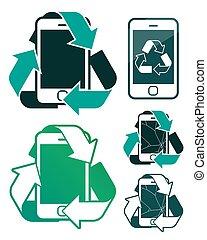 リサイクル, 壊される, スクリーン, smartphones, ベクトル