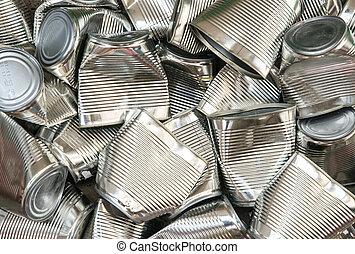 リサイクル, 抽象的, 錫, 背景, 缶