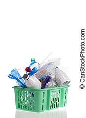リサイクル, 隔離された, プラスチック, 容器, バスケット, 白, 満たされた