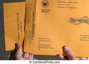 リスト, ウェストヴァージニア, absentee, 投票, 投票, 点検, mail-in, 選挙, 封筒