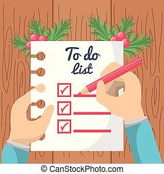 リスト, デザイン, クリスマス