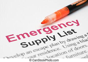 リスト, 緊急事態, 供給