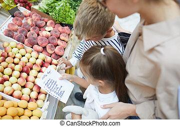 リスト, 読書, 買い物, 子供, スーパーマーケット