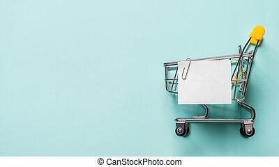 リスト, 青, ペーパーノート, カート, 買い物, 白