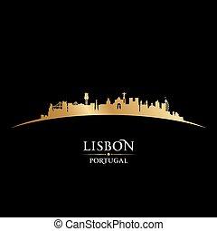 リスボン, ポルトガル, 都市 スカイライン, シルエット, 黒い背景