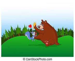 リス, そして, 熊