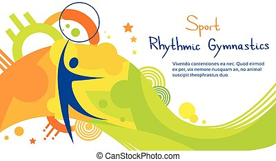 リズミカル, カラフルである, 運動選手, 競争, 体操, スポーツ, 旗