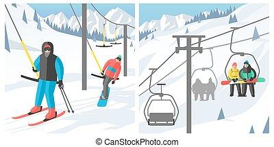 リゾート, ゴンドラ, ベクトル, モデル, 人々, エレベーター, ジャンプ, スポーツ, 残り, snowboard...