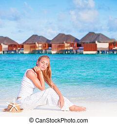 リゾート, 女性, 浜, 贅沢, かなり