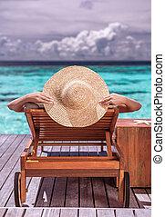 リゾート, 女, 浜, 贅沢