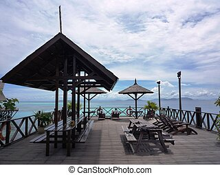 リゾート, 島, マレーシア, kapalai, 浜の 椅子