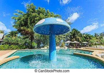 リゾート, 贅沢, プール, 水泳