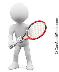 リターン, 人々。, テニスプレーヤー, 白, 3d