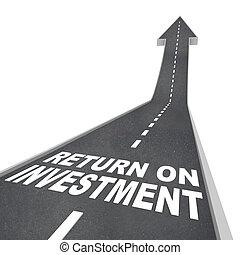 リターン, 先導, の上, improvment, 成長, 投資, 道