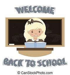 リターン, school., モデル, 歓迎, vector., 机, 女の子, 株