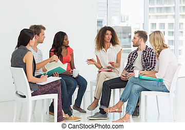 リハビリテーション, セラピスト, グループ, 話すこと