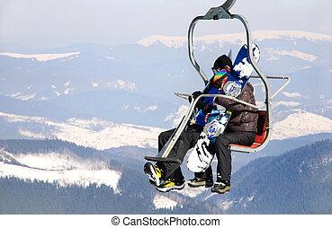 リフト, スキーヤー, 恋人, スキー