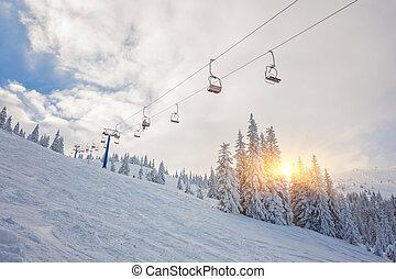 リフト, スキー, スノーボーダー
