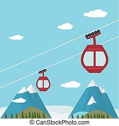 リフト, 雪スキー, ゴンドラ, 山, 森林