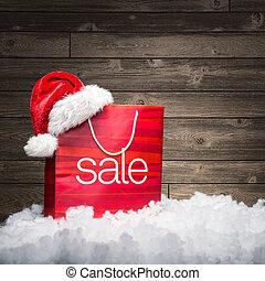 リベート, 木, 背景, -, セール, 袋, クリスマス
