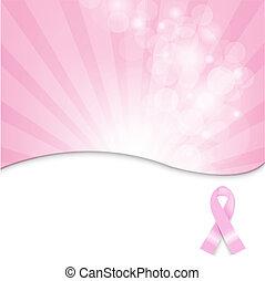 リボン, がん, 背景, ピンク, 胸