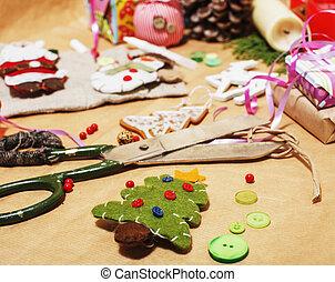 リボン, たくさん, 田舎, だれも, ハンドメイド, パターン, 概念, ペーパー, 贈り物, はさみ, 原料,...