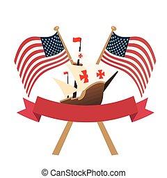 リボン, アメリカ, デザイン, 船, クリストファー, ベクトル, 旗, コロンブス
