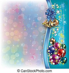 リボン, クリスマス, 背景, 鐘