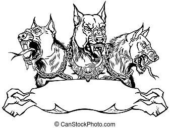リボン, テンプレート, cerberus, デザイン, hellhound