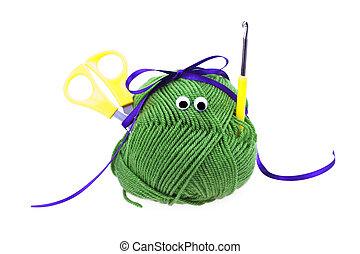 リボン, ホック, 目, 隔離された, かせ, かぎ針で編み物をしなさい, はさみ, 白, 羊毛