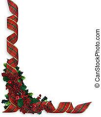 リボン, ボーダー, クリスマス, 西洋ヒイラギ