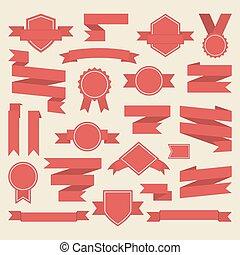 リボン, メダル, 網, 賞, 赤, 旗, vector.