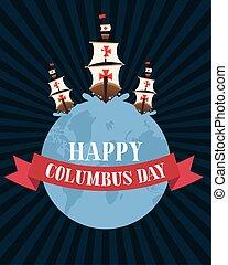 リボン, 幸せ, 船, デザイン, ベクトル, 日, 世界, コロンブス