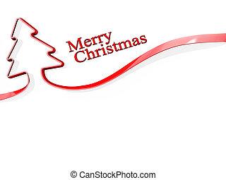 リボン, 木, クリスマス, 陽気