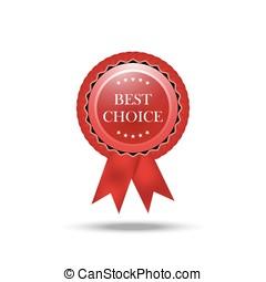 リボン, 生地, 現実的, 隔離された, イラスト, 選択, バックグラウンド。, badge., ベクトル, 賞, 白, 最も良く, 赤