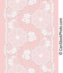 リボン, 縦, seamless, ボーダー, 花, elements., レース, バックグラウンド。, ピンク, 白