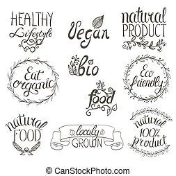 リボン, 自然, 背景, vignettes., 食物, vegan, 有機体である, labels., 書かれている手, セット, 装飾, 花, 印, レストラン