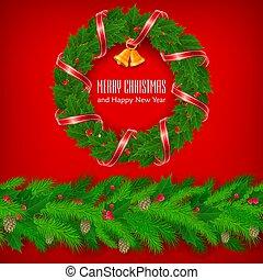 リボン, 西洋ヒイラギ, bell., クリスマス, 赤い果粒, 花輪, vector.