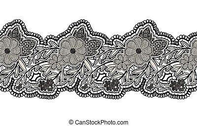 リボン, 黒, seamless, 隔離された, 花のボーダー, レース, バックグラウンド。, design., 白