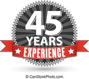 リボン, 45, 経験, ラベル, ベクトル, イラスト, 年, 赤, レトロ