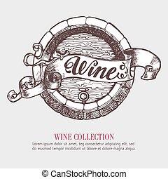 リボン, banner., ビール樽, ∥あるいは∥, ワイン