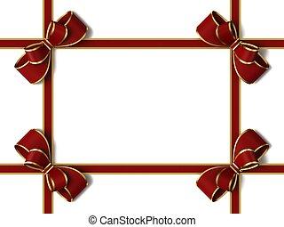 リボン, bow., 贈り物, 赤