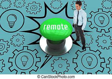 リモート, に対して, ディジタル方式で生成された, 緑, 押しボタン