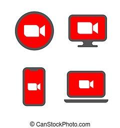 リモート, テレコンファレンス, オンラインで, 企業, 会議, ∥あるいは∥, ビデオ, ソフトウェア, tv, ...
