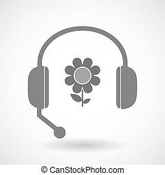 リモート, 援助, アイコン, 花, ヘッドホン